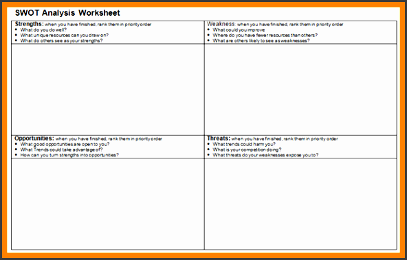 6 swot analysis spreadsheet