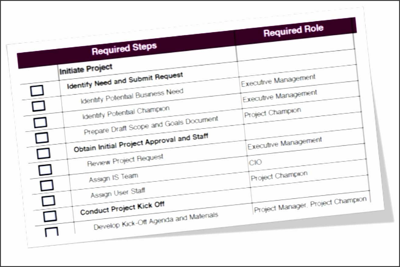 systems implementation project checklist