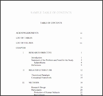 table of contents 6 pdf