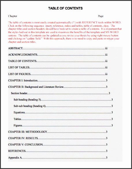 printable table of contents template word 04
