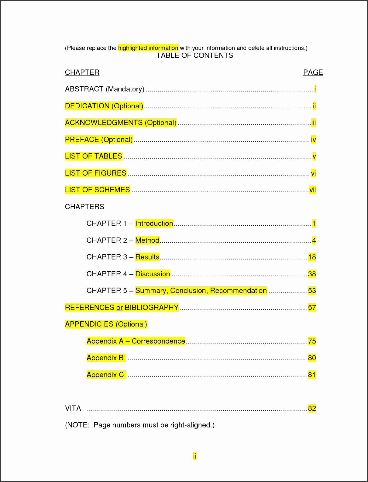 table of contents template word a9acxcrg