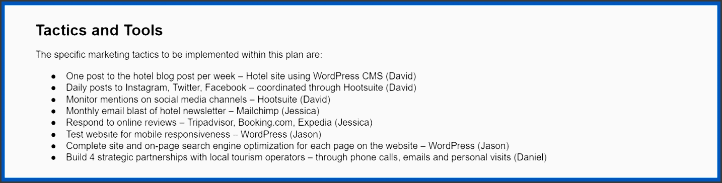 a sample of the tactics and tools listed in a hotel marketing plan