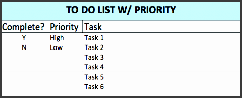 prioritized to do list template