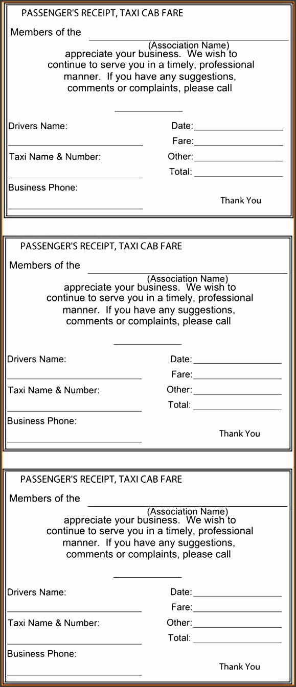 taxi receipt template format format of taxi receipt template sample