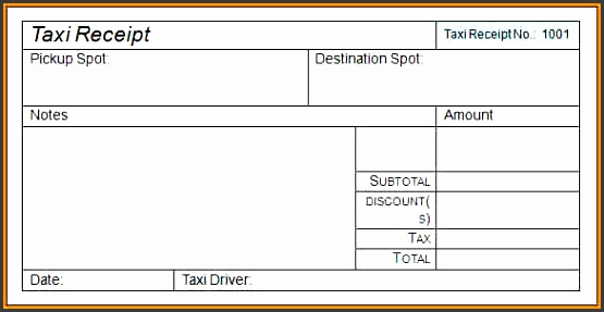 sample taxi bill formatintable taxi receipt