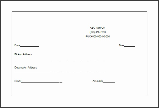 4  taxi receipt template in excel