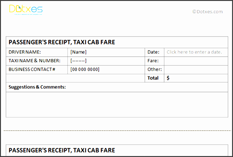 taxi receipt template free printable
