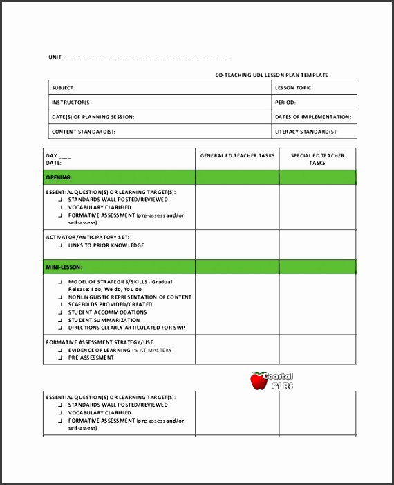 co teaching udl lesson plan template