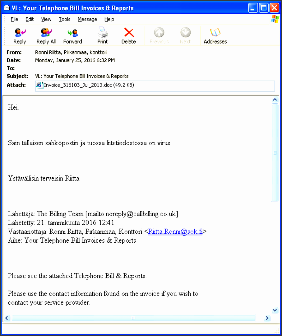 telephone bill themed spam message