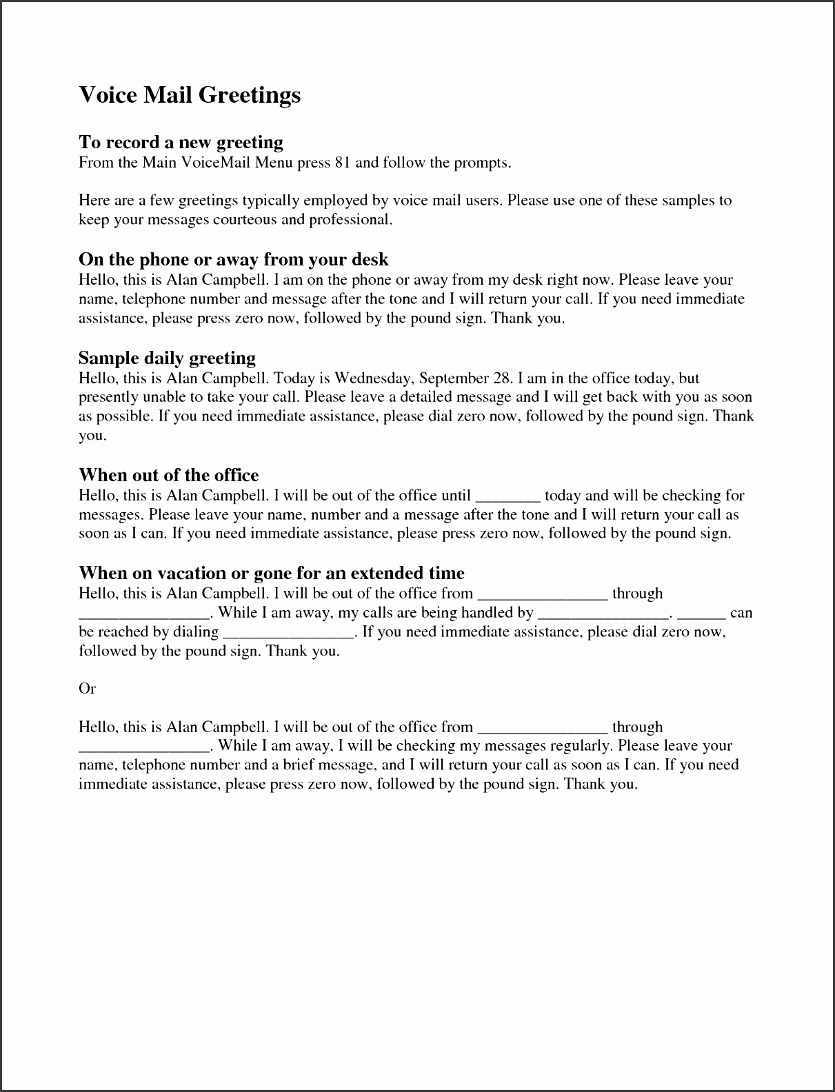 sample professional voicemail scripts professional resumes