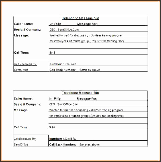 6 phone message template