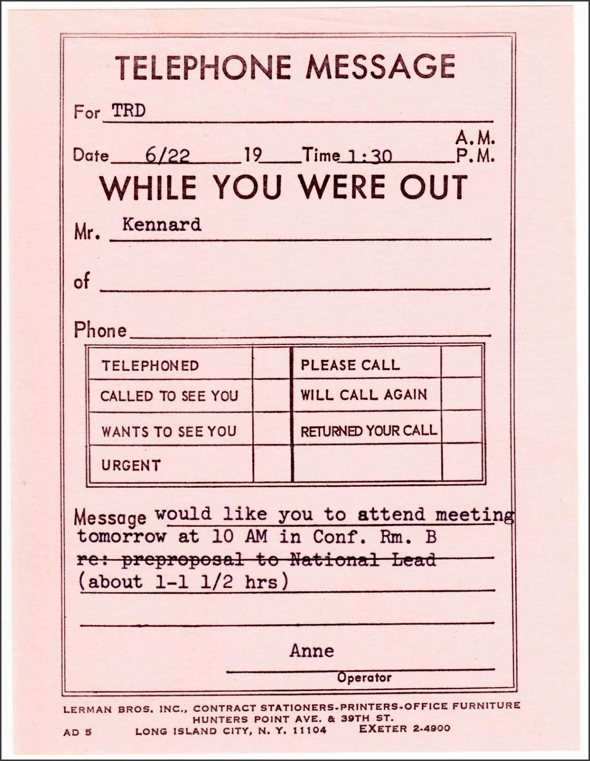 7 Telephone Message Template Editable Sampletemplatess