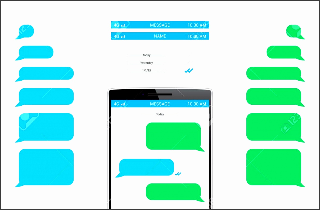 phone message template stock vector