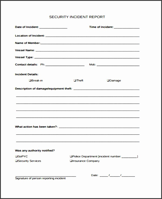 free security incident report form