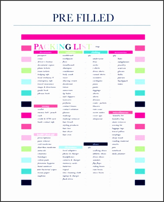 pre filled travel packing list template