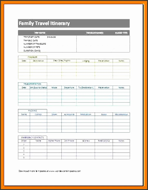 trip itinerary template family travel itinerary