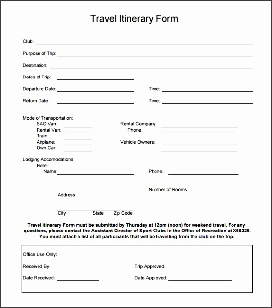 holiday travel itinerary template