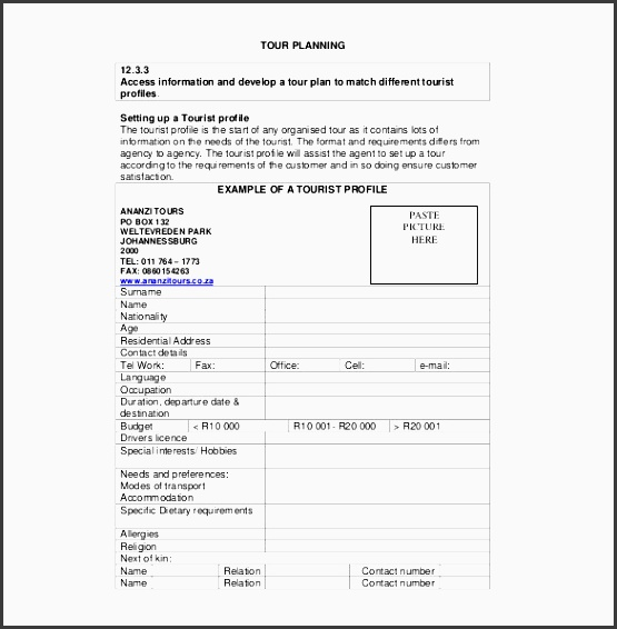 sample tour planning itinerary template free