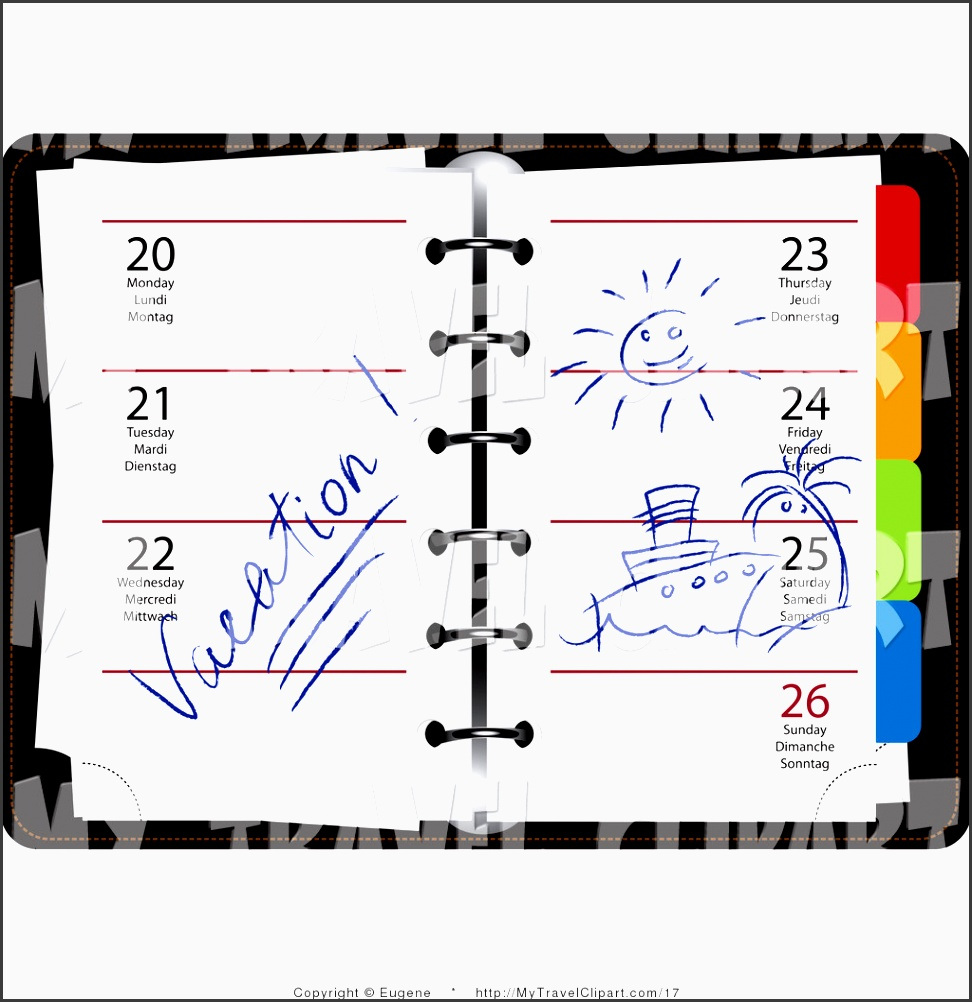 clipart of a weekly organizer planner opened to vacation week with drawings by eugene 17