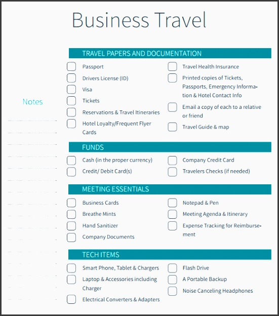 travel checklist excel