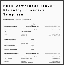 free travel planning itinerary template