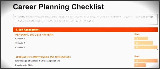 free career planning checklist template for excel 2013