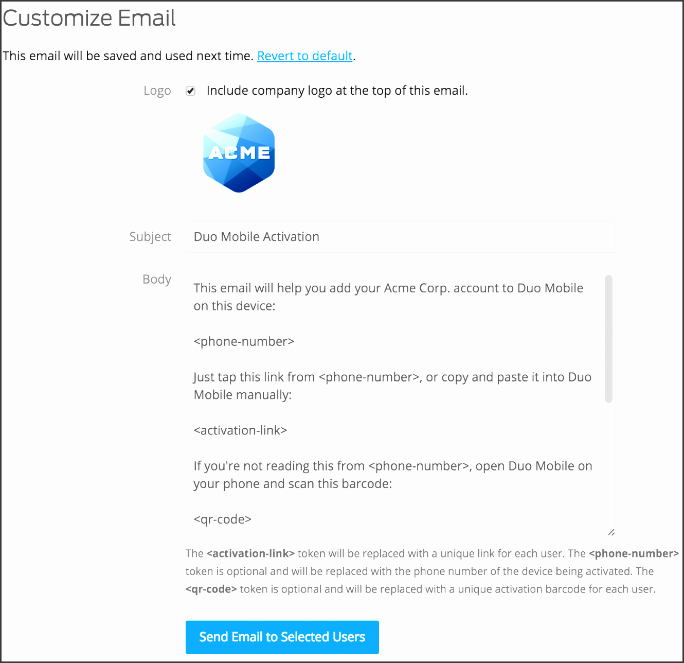 customize activation email