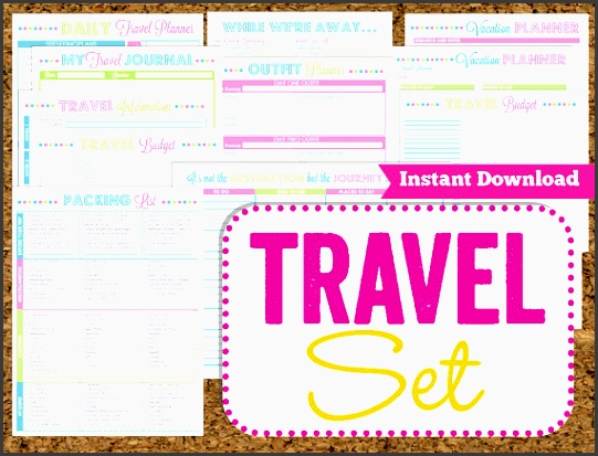 instant travel printables vacation planner 14 pdf printable sheets