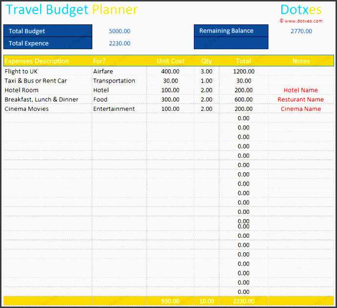 travel bud template planner and calculator