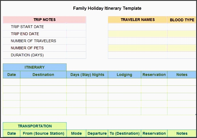 8 vacation itinerary planner layout sampletemplatess for Blank trip itinerary template
