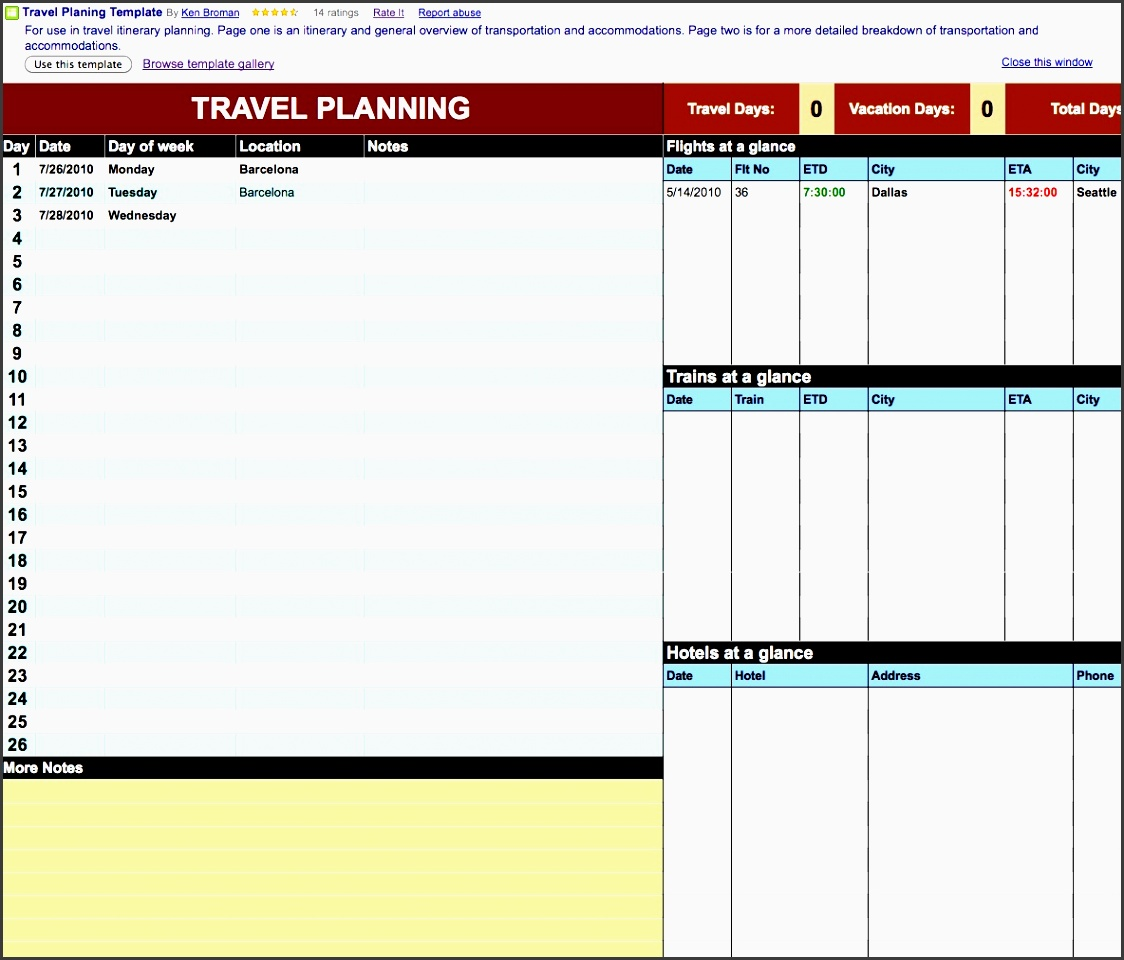 using google docs for travel plans