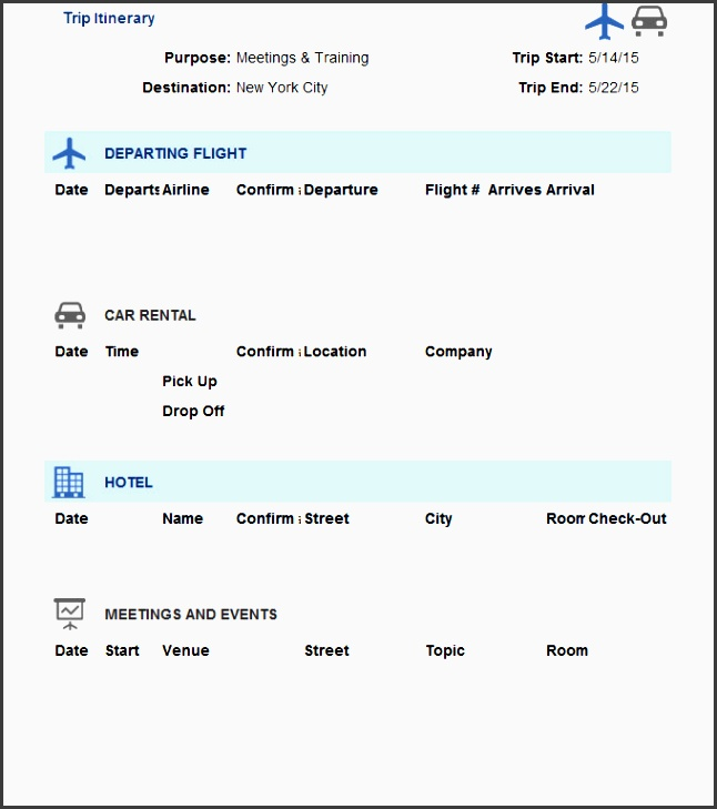 this is an ms excel based trip itinerary template which helps you record every leg of your trip from flights to car rental and ac modation and the main
