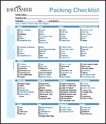 blank packing list template for vacation