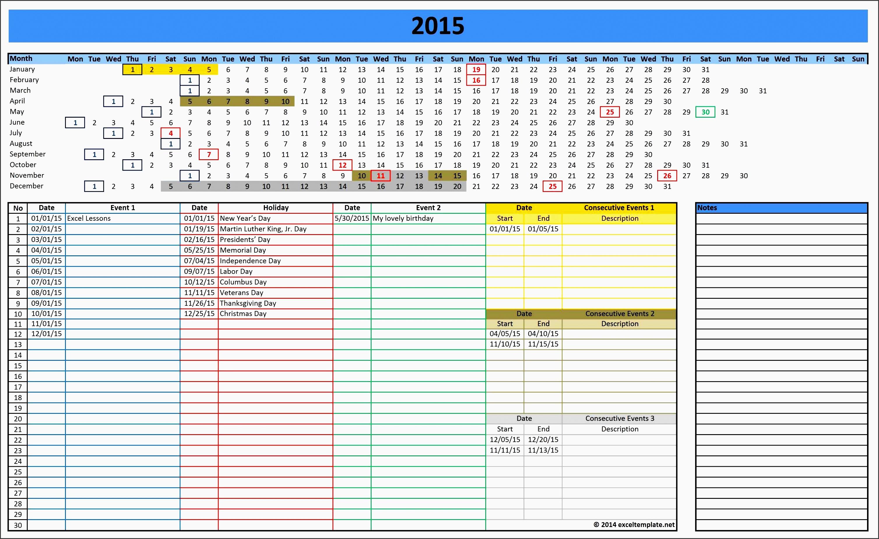 excel templates calendar