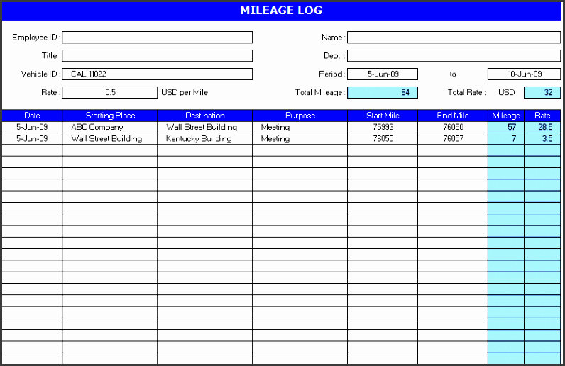 auto mileage log template