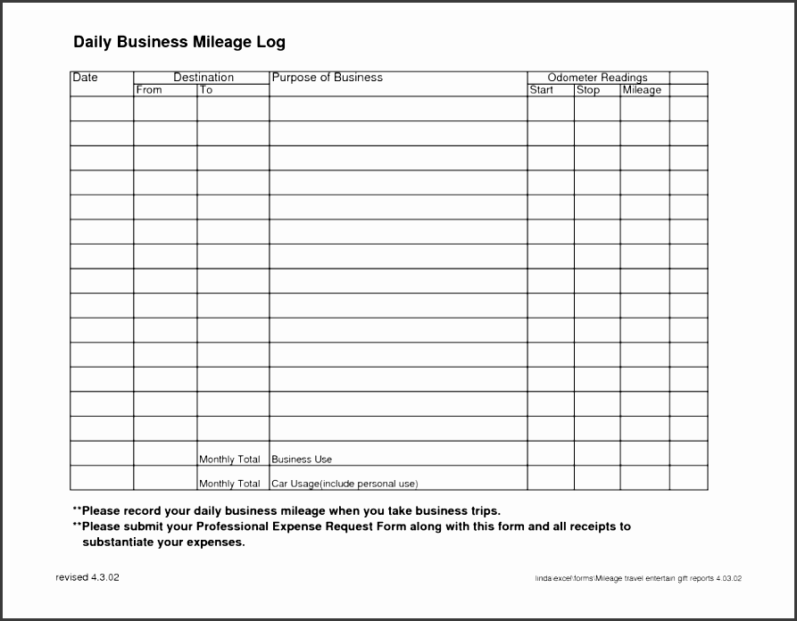 printable vehicle mileage log
