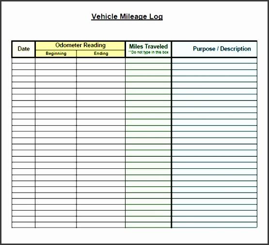 free vehicle car mileage log form