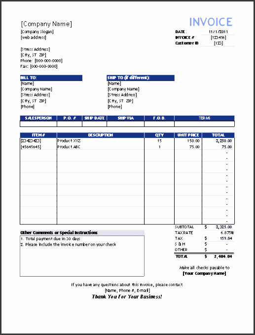 sales invoice template for excel vendor invoice template