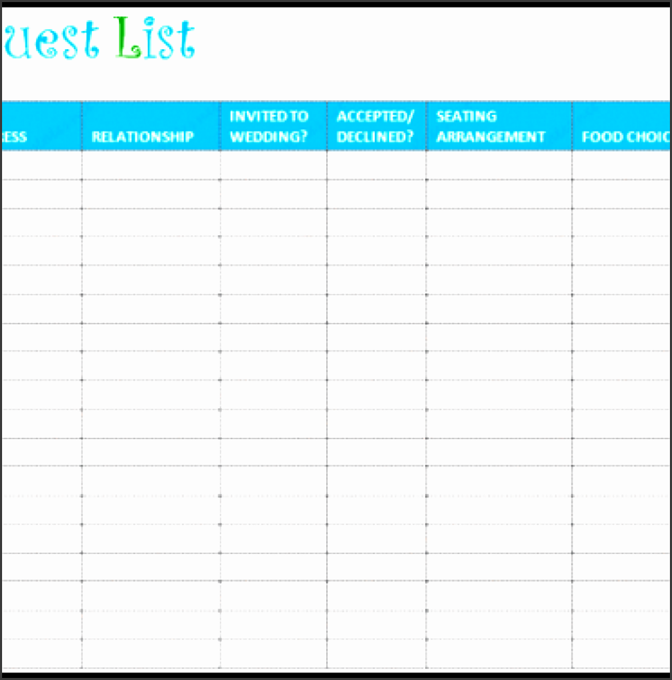 great free printable wedding guest list template images gallery wedding guest list template lovely 7 free wedding guest list templates and managers of