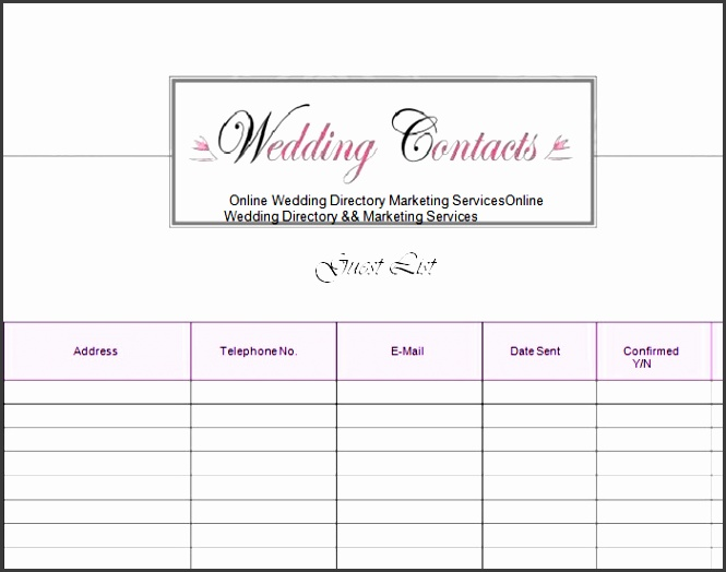wedding guests checklist in pdf word format