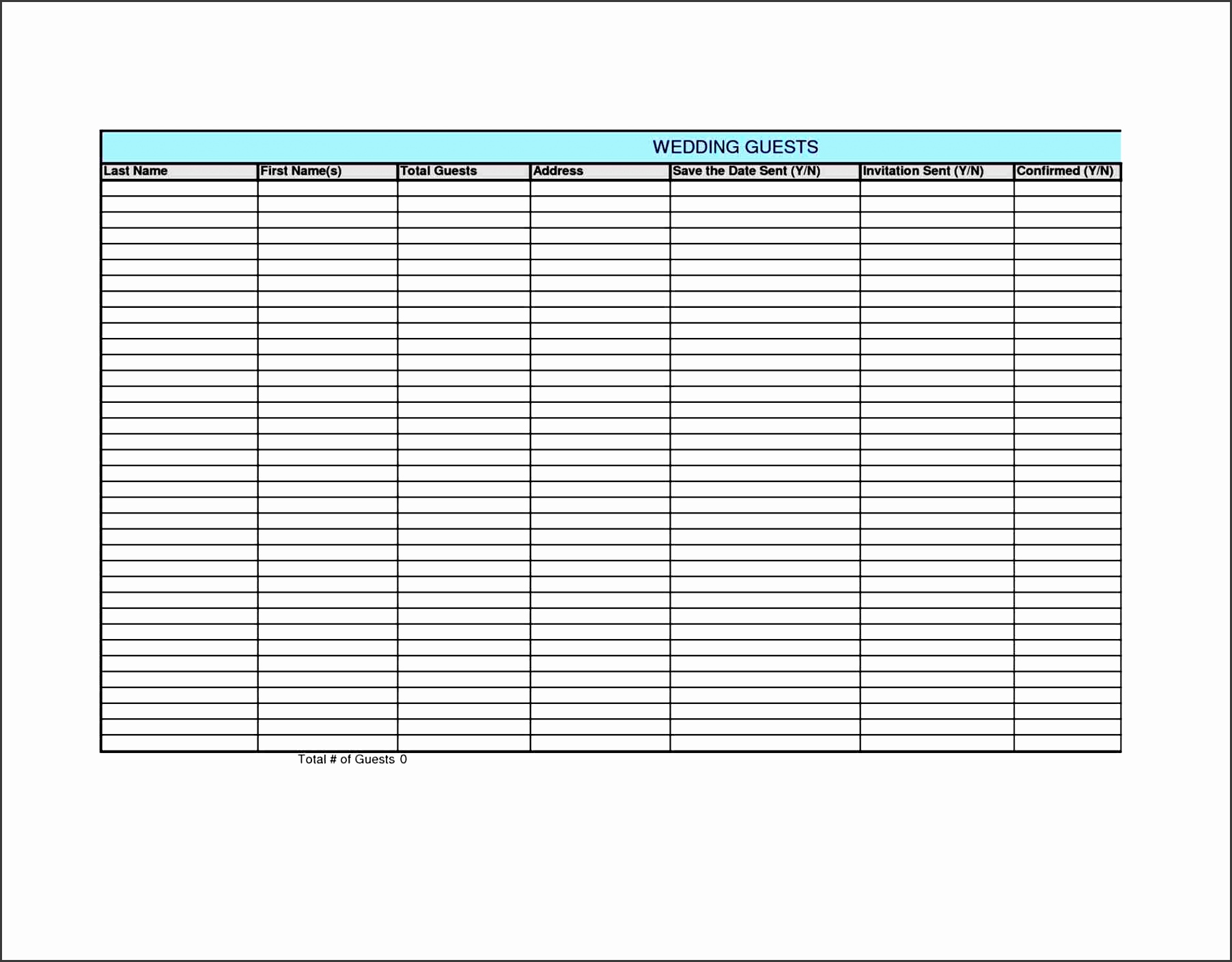 wedding guest list template excel sample guest list wedding guest list template 6
