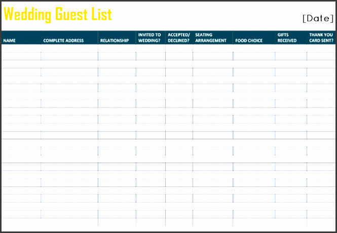 free printable wedding guest list template for word and excelÂ