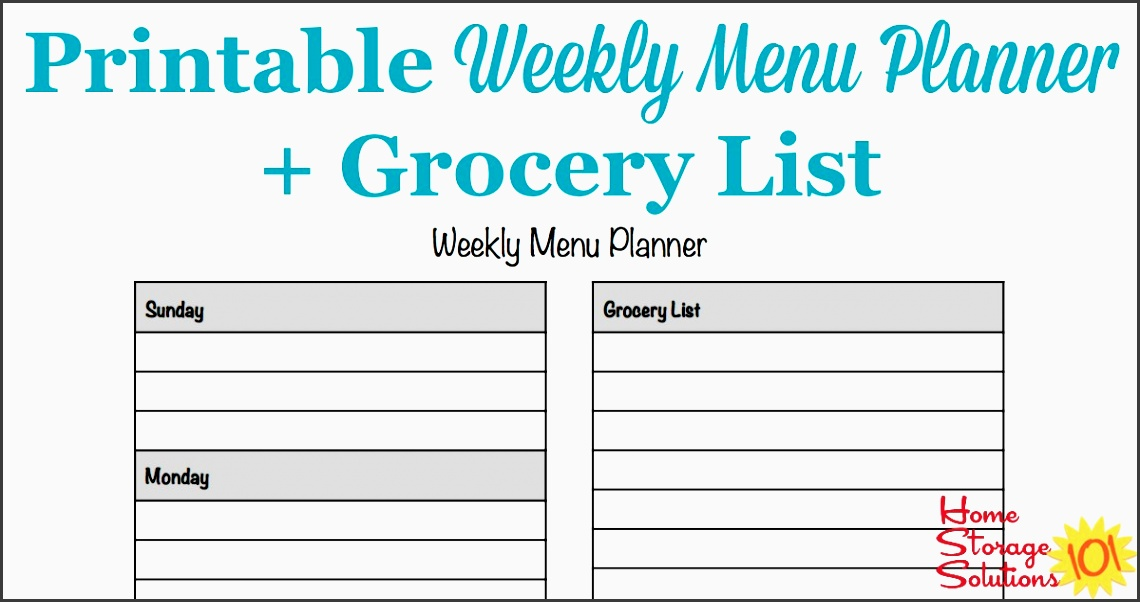 free printable weekly menu planner template plus ac panying grocery list courtesy of home storage solutions