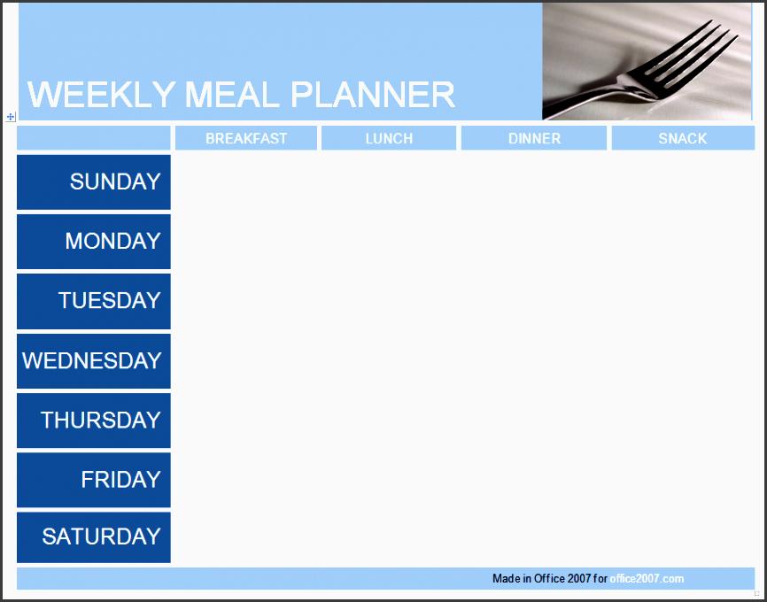 meal planner weekly menu planner template