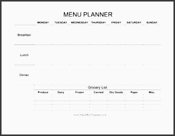 weekly menu planner with grocery list openoffice template
