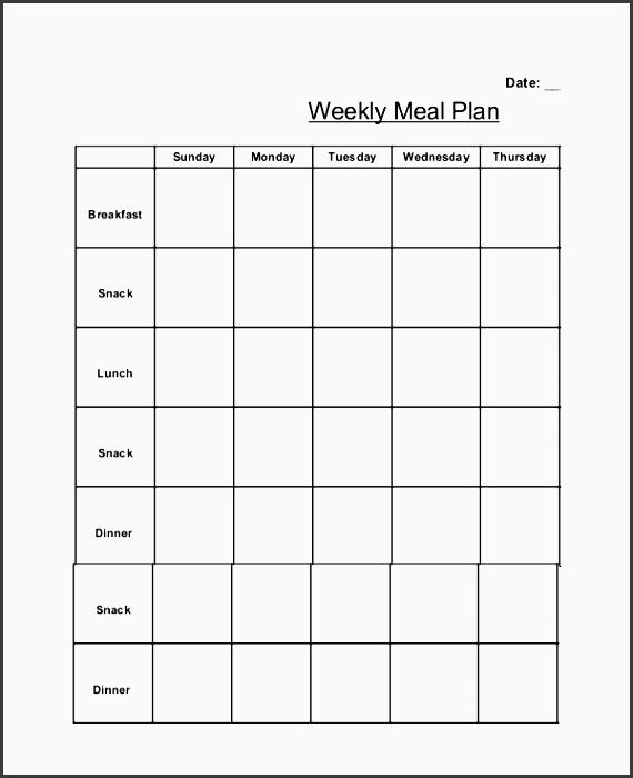 simple weekly meal planner template