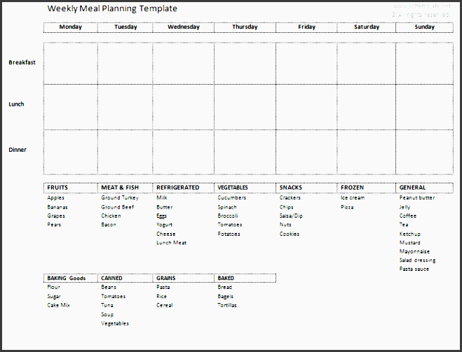 weekly meal planning and grocery list template