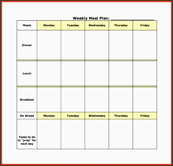 weekly meal planner template weekly meal planning template