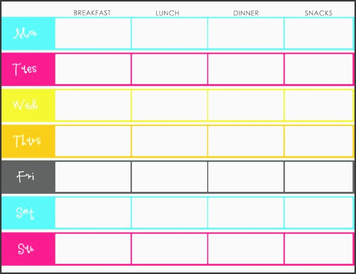 meal plan chart template