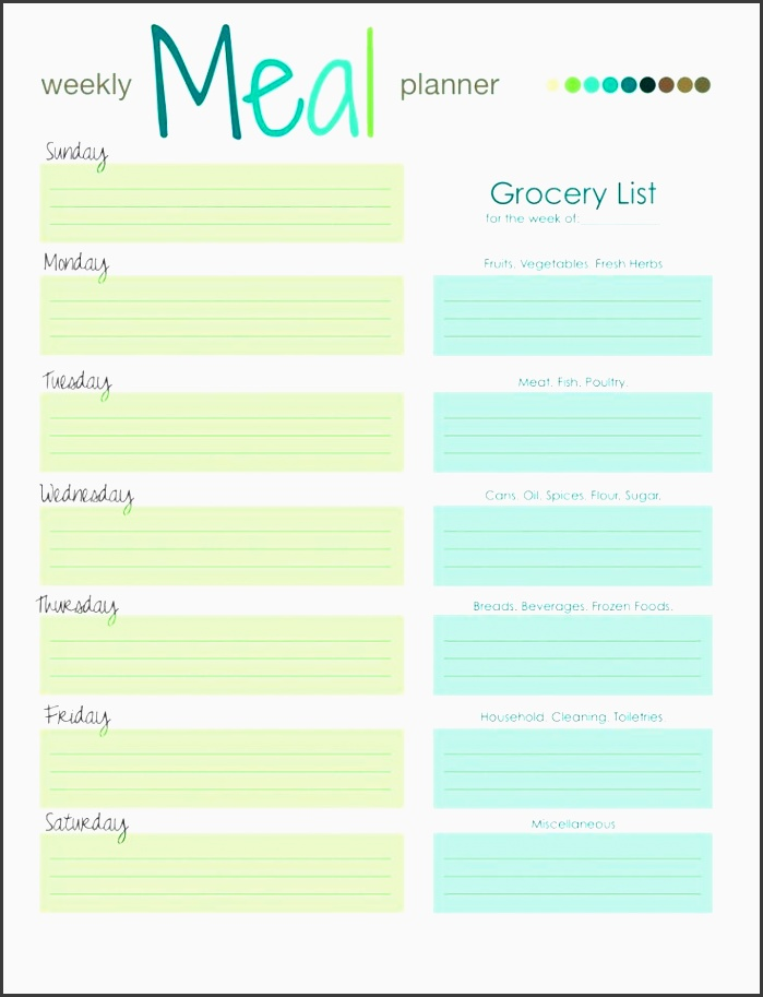 chefevelyn weekly meal planner 2013
